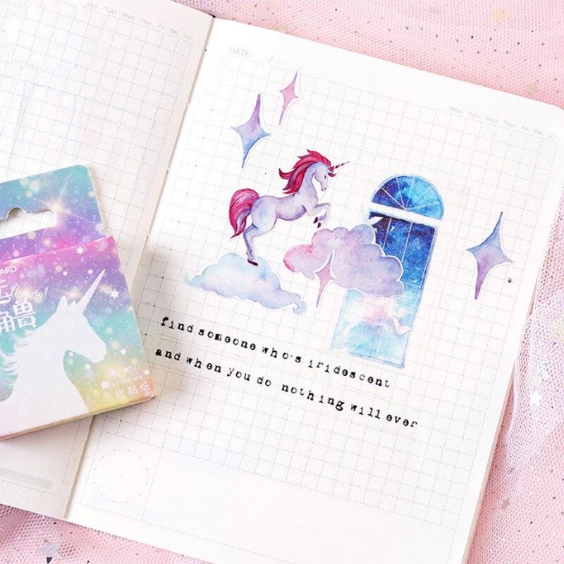 Купить с кэшбэком 46pcs/box Kawaii unicorn DIY Sticker child diary sticker Photo album decoration stickers office stationery School Office Supply