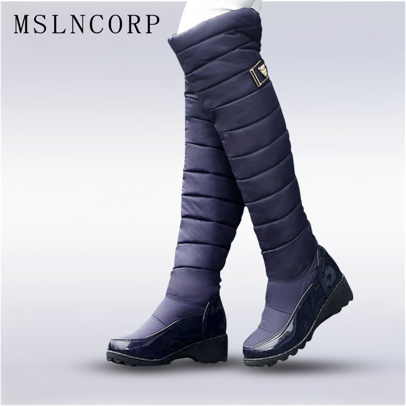 Plus Size 34-44 winter women warm knee high boot ladies fashion platform Low Square Heel thigh snow boots shoes waterproof botas ppnu woman winter nubuck genuine leather over the knee snow boots women fashion womens suede thigh high boots ladies shoes flats