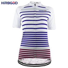5b96693a6 HIRBGOD Women s Short Sleeve Cycling Jersey Striped Bike Clothing-HK035