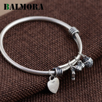 BALMORA Vintage 100 Real 990 Pure Silver Jewelry Heart Flower Charms Bangles For Women Lover Gift