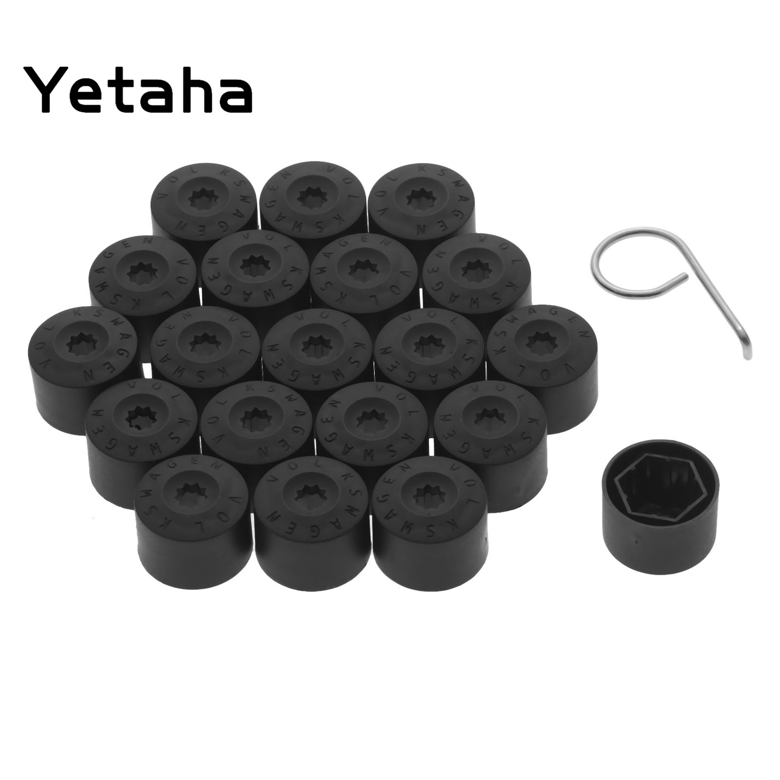 SurePromise 19mm Car Hex Wheel Nut Lug Bolt 16PCS Black Covers Caps 4 Locking Bolt Caps With Removal Tool Puller Tweezers
