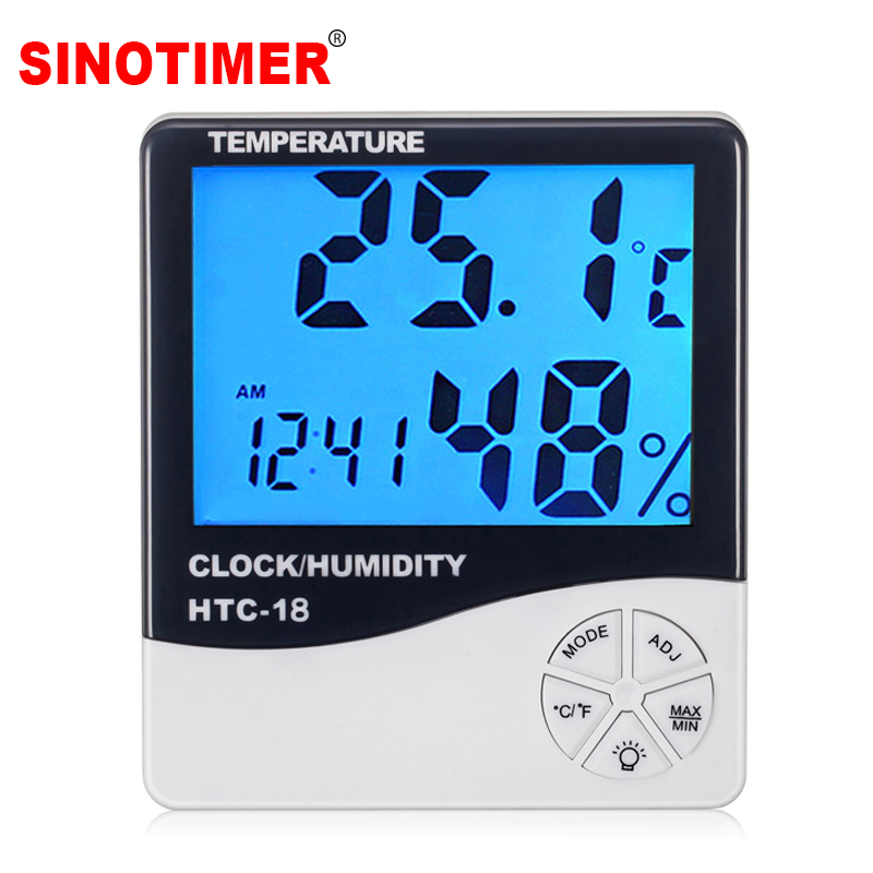 HTC 1 Electronic Temperature Humidity Meter Indoor Room Digital Thermometer Hygrometer Weather Station Alarm Clock in Temperature Instruments from Tools