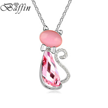 BAFFIN Cute Rose Cat Pendant Necklaces Crystals from Swarovski Women Kids Jewelry 3 Colors