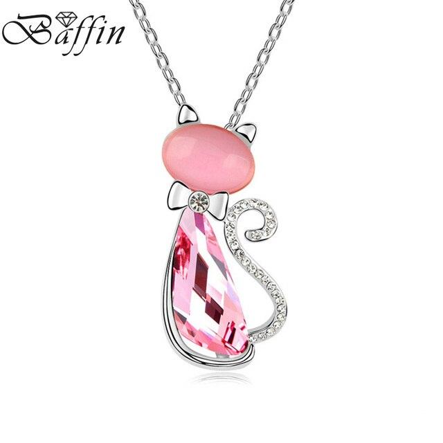5bcad8e89abdba BAFFIN Carino Rosa Gatto Collane con pendente Cristalli da Swarovski Donne  Gioielli Per Bambini 3 Colori