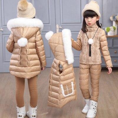 2017 зимняя детская одежда Комплекты пуховики и парка куртка комплекты жилет-Брюки-куртка с капюшоном для маленьких девочек кожаная куртка и ...