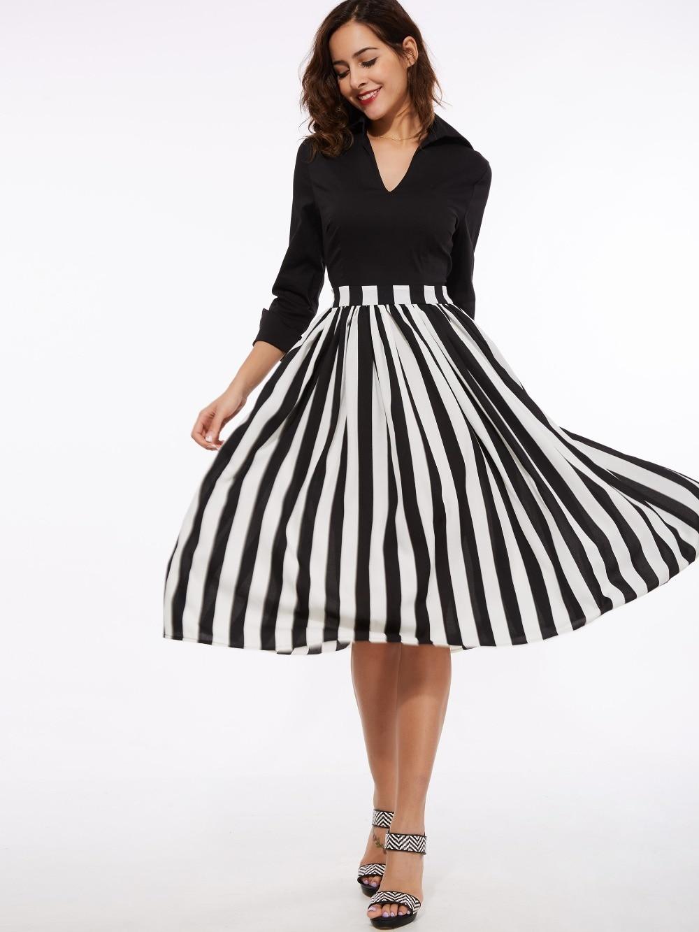 Sisjuly a-line mujeres dress verano solapa primavera patchwork dress 3/4 color b