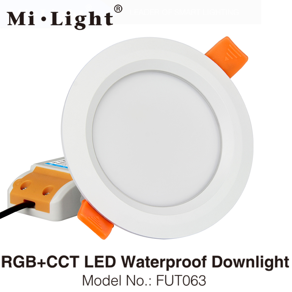 MiLight FUT063 6W RGB+CCT LED Ceiling Spotlight Waterproof Reccessed Light AC85-265V WiFi Compatible 2.4G 4-Zone Wireless Remote