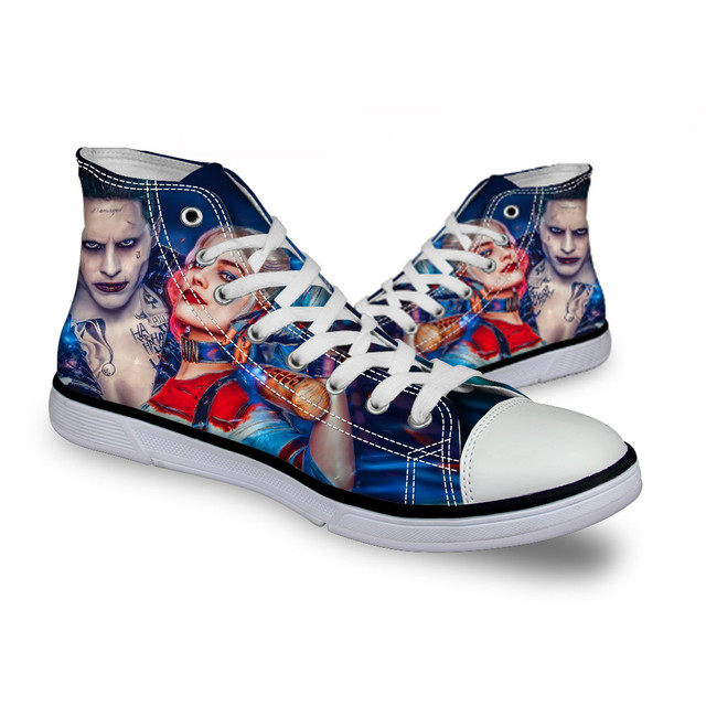 FORUDESIGNS Fashion Women High Canvas Shoes Flats Harley Quinn and Joker Shoes Casual Batman  Walking Shoes,Female Male Footwear