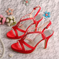Wedopus MW316 Custom Color New Design Summer High Heel Ladies Sandals Red Satin