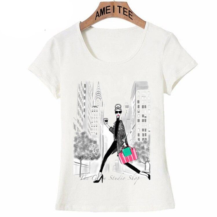 Vintage Vogue Paris Black printing Girl Shirt Summer Fashion T Shirt novelty casual Tops 25