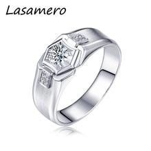 LASAMERO Rings for Men 0.303CT Round Cut Natural Diamond Rin
