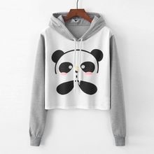 Sweatshirts Women Cartoon Panda Printing Hoodie Jumper Long Sleeve Pullover Top Female Short Blouse bluzy damskie sudadera mujer(China)