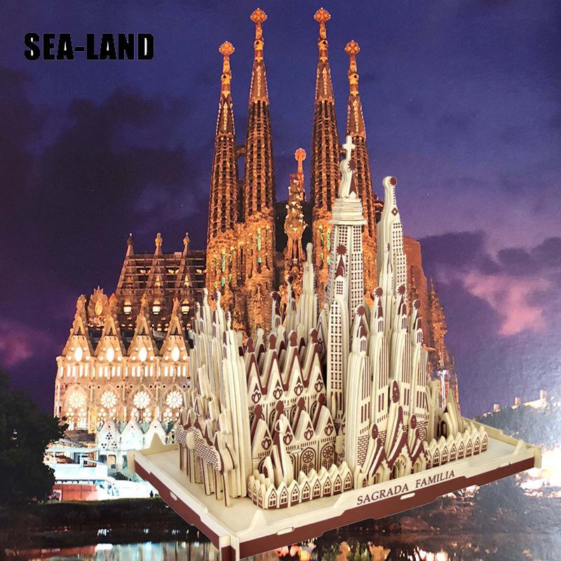 Livraison directe 3D Puzzle en bois enfants modèle adulte la Sagrada Familia un jouet pour enfants de célèbre série de construction meilleur cadeau pour les enfants - 2