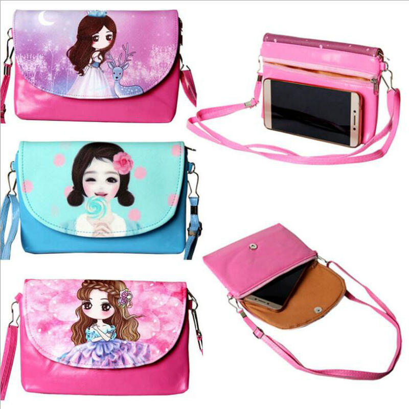 Cute Cartoon Girls Printed Flap Women Shoulder Bags Kids Mini PU leather Purse and children Handbags Crossbody Lovely Bag new woman shoulder bags cute canvas women big bags literature and art cartoon girls small fresh bags casual tote