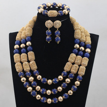 Graceful 3 Layers Real Beads African Jewelry Set Blue Bridesmaid Costume Jewelry Accessories Christmas Jewelry Set WD900