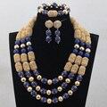 Gracioso 3 Camadas Reais Beads Africanos Conjunto de Jóias Traje Azul Da Dama de Honra Acessórios Jóias Conjunto De Jóias de Natal WD900