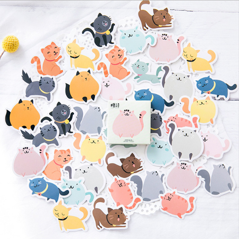 45 pcs/lot  Creative Color cat  mini paper sticker Decoration DIY Calendar Scrapbooking Sticker Stationery kawaii label stickers