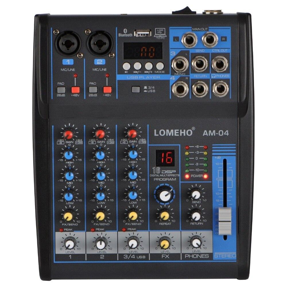 LOMOEHO AM 04 2 Mono 1 Stereo 4 Channels Bluetooth USB 48V Phantom Professional DJ Audio