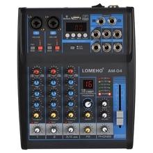 LOMOEHO AM-04 2 Mono + 1 Stereo 4 Channels Bluetooth USB 48V Phantom Professional DJ Audio Mixer