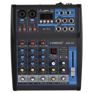 Image 1 - LOMOEHO AM 04 2 Mono + 1 Stereo 4 Channels Bluetooth USB 48V Phantom Professional DJ Audio Mixer