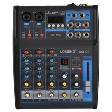 LOMOEHO AM 04 2 Mono + 1 stéréo 4 canaux Bluetooth USB 48V fantôme professionnel DJ table de mixage Audio