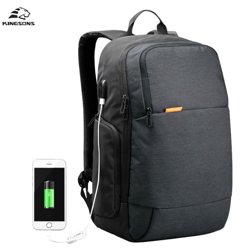 Kingsons Backpack Men USB Charge 15.6 inch Anti theft Notebook Computer Backpack Student Waterproof School Bags For Teenagers baibu men backpack usb charge notebook business 15 6 computer bag waterproof anti theft women travel school bags for teenagers