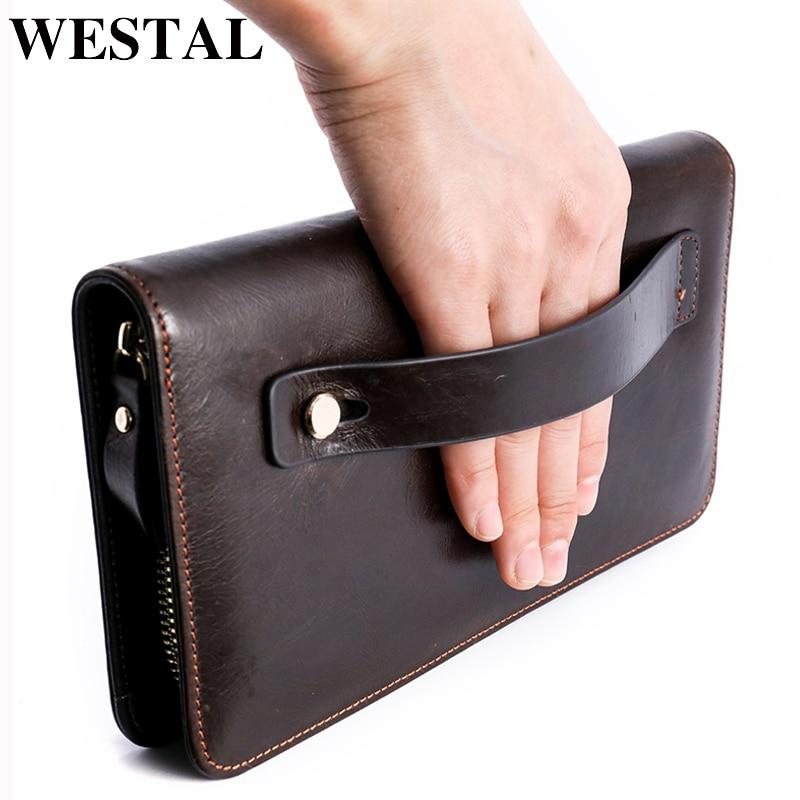 WESTAL 100% Men's Wallet Clutch Male Genuine Leather Wallet For Men Wallets Purse For Phone/Card Wristlet Wallets Long Money Bag