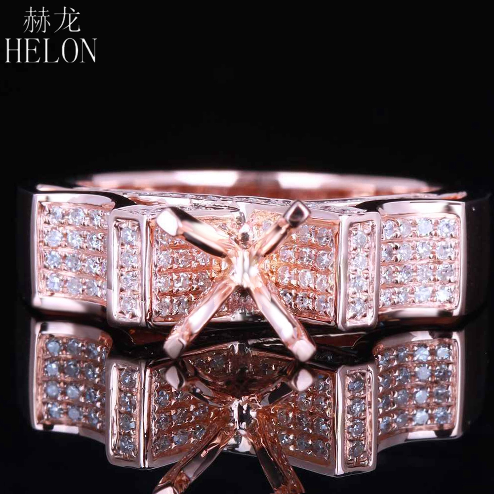цены HELON 5.75-6.5mm Round Cut Solid 14K Rose Gold 0.45ct Pave Real Diamonds Jewelry Semi Mount Ring Engagement Gift Ring Setting