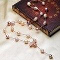 Горячий продавать природный пресной воды жемчужина барокко стиль Эдисон abnormity жемчужное ожерелье длинный свитер цепи ожерелье ювелирные изделия