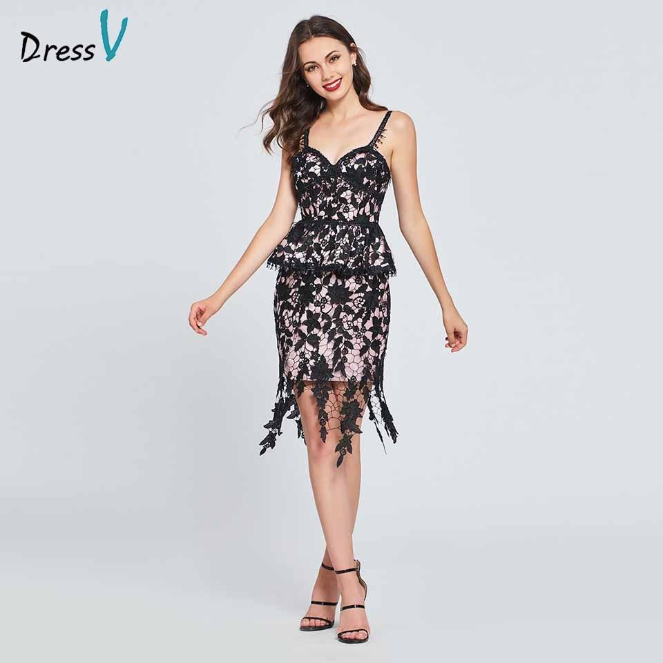 Dressv   cocktail     dress   spaghetti straps elegant beading sheath lace ruffles wedding party formal   dress     cocktail     dresses