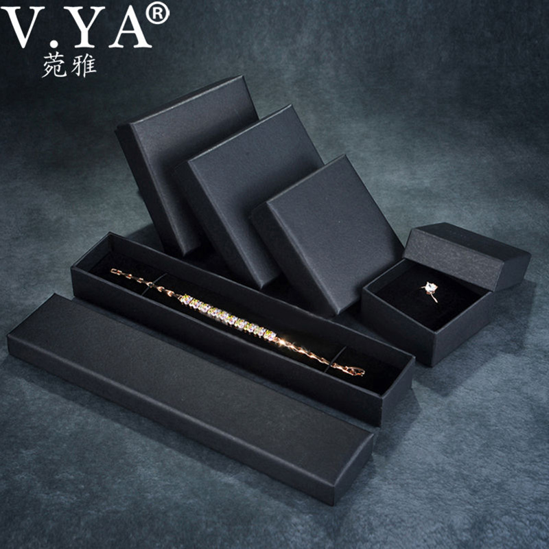 V.YA Black Paper Gift Box For Bangle Bracelet Earring Ring Necklace Fashion Gift Bag Jewelry Packaging/NOT Include Product
