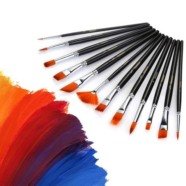 pincel con pintura. 12 unids/set acero arte artesanía aceite artista acuarela pincel pintura dibujo con