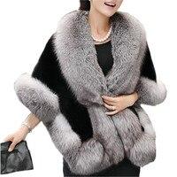 Fashion Women Artificial Fur Cape Faux Fox Fur Wrap Pashmina Solid Color Lady Noble Mantilla Winter Warm Echarpes One Size Chal