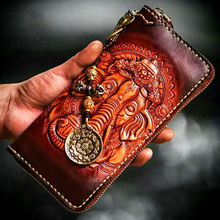 Handmade Unique Men's Genuine Vegetable tanned Leather Wallet Clutch Hand Carving Handbag Purse