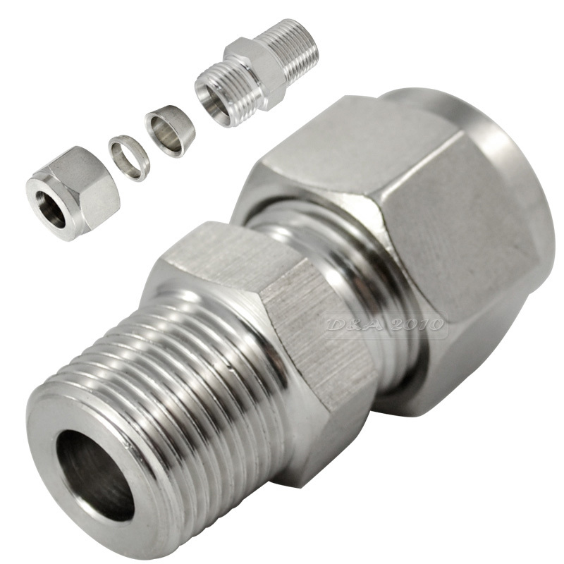 MEGAIRON 1/4 8MM Bite Type Fitting Male Threaded Double Ferrule Connector Stainless Steel SS304 Card-type Connector Set