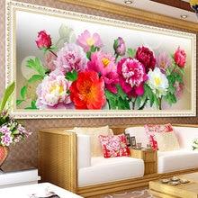 2015 Китайский Пион Тенденции 5D DIY Алмаз Вышивки Цветы DMC Красочный Дизайн Верхней Алмаз Живопись Цветы Алмазов Картина