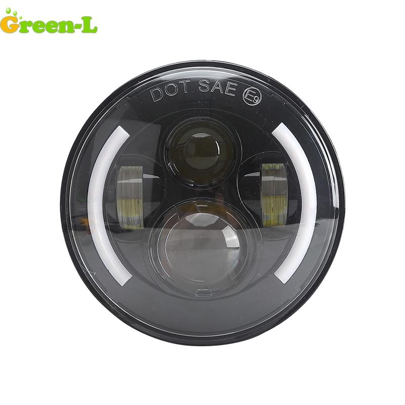 Green-L 50W 7 Inch Round Led Headlight Suit for Jeep Wrangler Jk TJ Half halo Ring Hi/Low Bean Daytime Running Light 7 headlamp