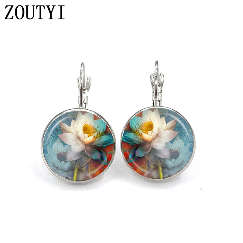 New glamour retro fashion ethnic style Indian l lotus earrings convex and concave glass ladies earrings in Stud Earrings from Jewelry Accessories