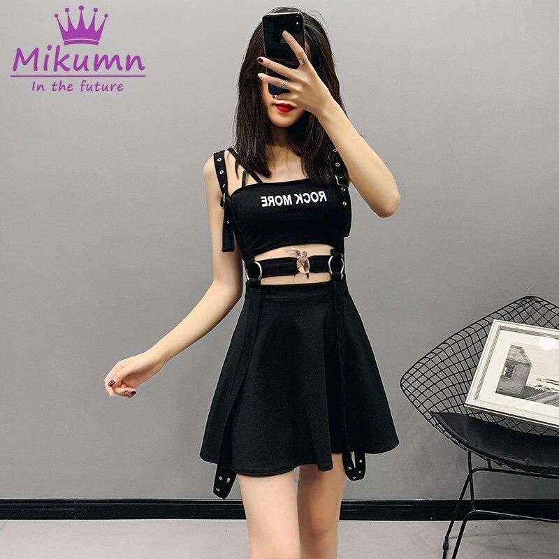 Women Skirt Gothic Harajuku Skirt Retro Metal Buckle Punk High Waist Strap Mini Skirts Black Saias Femininas