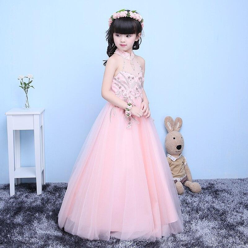 2017 Luxury Baby Girls Party Dress Euroepan Elegant Girl Long Evening Dress For Christening Wedding Kids Dresses For Teen Girls цена