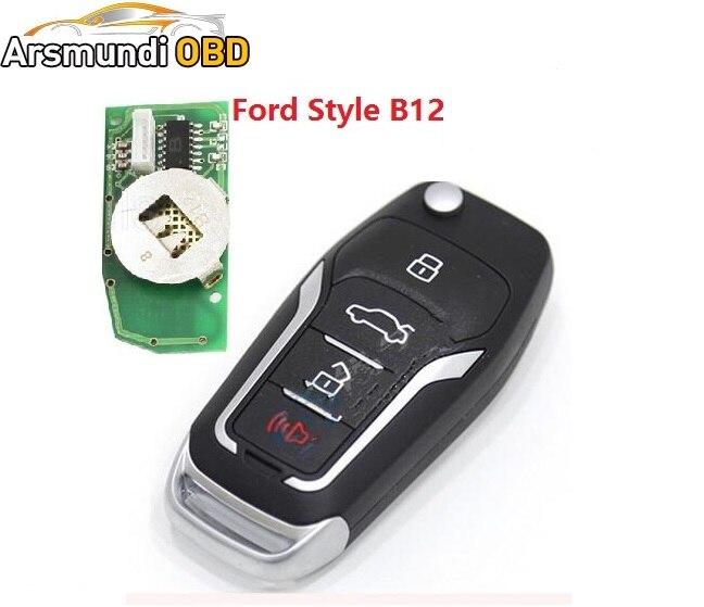 Prix pour 2 pcs x B12 B12-4 KD900 URG200 Télécommande 3 Bouton 3 + 1 bouton clé F Style POUR Ford style clé de voiture à distance pour KD900 KD200