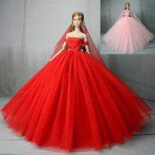 High Quality Doll Dress Handmade Long Tail Evening Gown Clothes Lace  Wedding Dress +Veil For doll Doll Best Gift c98c938ca287