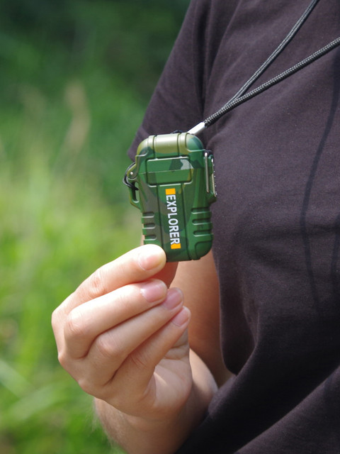 Encendedor de Plasma USB impermeable de doble arco para deportes de acampada al aire libre, encendedor de cigarrillos para fumar