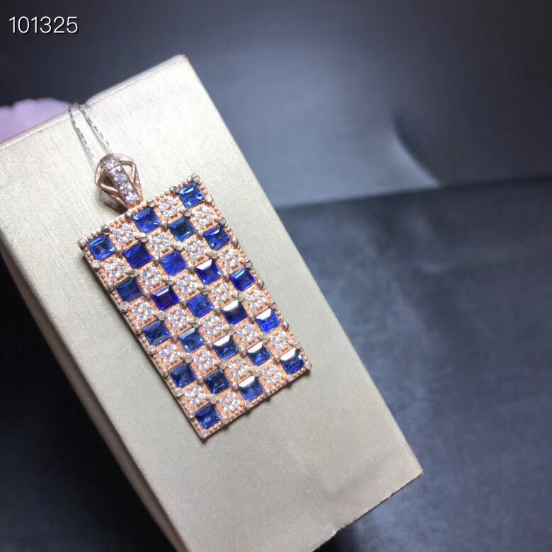 Uloveido Blue Sapphire Stone Square Pendant Necklace Women 925 Sterling Silver Gemstone Fine Necklace Pendant for