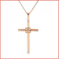Hot Fashion Christian Necklace Women, Big Movie Star Rose Gold Cross Long Necklaces Pendants, Unique Neckless Woman Men Jewelry