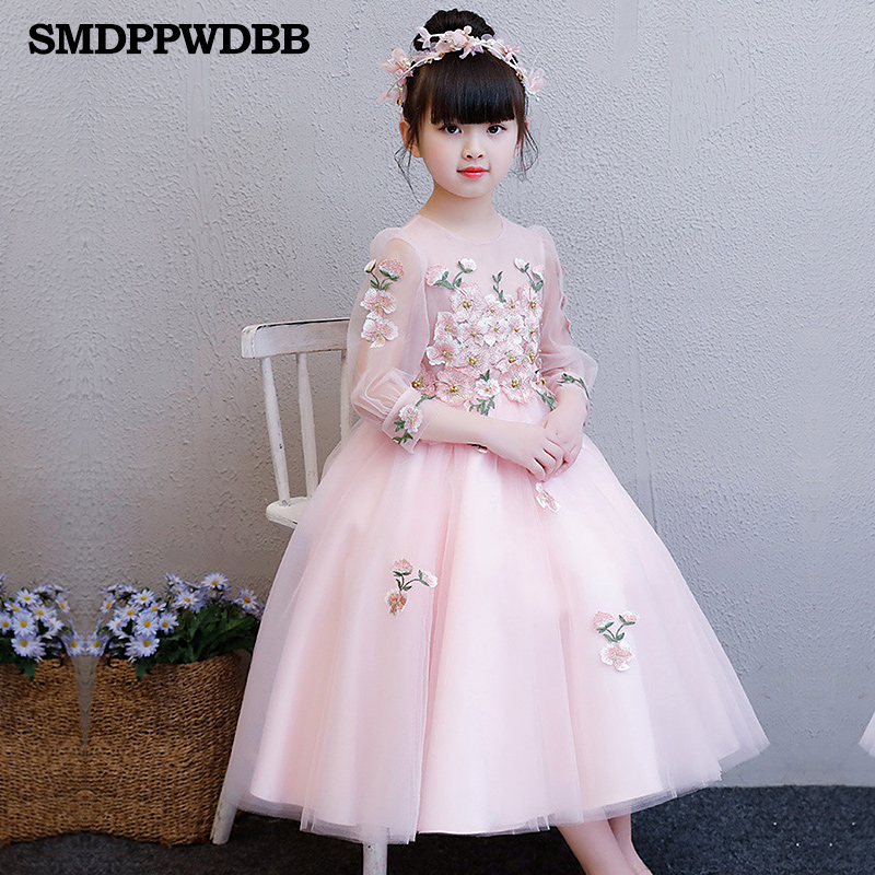 Flower Girls Dress For Wedding and Party Dress Kids Pink Bridesmaid Princess Dress Children Dress Teenage Girl Clothing 12 Year baby girl princess dress flower princess children bridemaid dress for wedding girls party toddler girls dress clothing