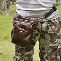 Men's Oil Wax Genuine Leather Cowhide Vintage Drop Leg Bag Messenger Shoulder Bag Belt Hip Bum Fanny Pack Travel Riding Pouch