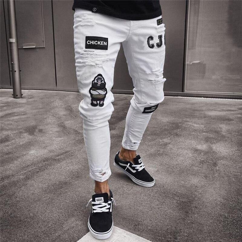 Męska moda w stylu Vintage zgrywanie dżinsy Super Skinny Slim Fit zamek spodnie jeansowe zniszczone postrzępione spodnie Cartoon Gothic spodnie w stylu w Dżinsy od Odzież męska na AliExpress - 11.11_Double 11Singles' Day 1