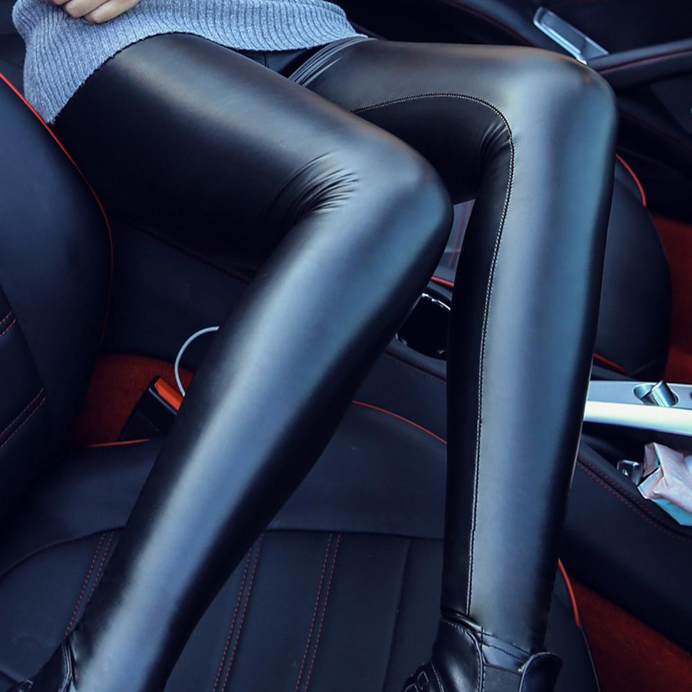 Fashion Women S-2XL One Color Sport Skinny Faux Leather Stretchy Autumn Winter Pants Pencil Elastic Trousers   Leggings   Women 2019