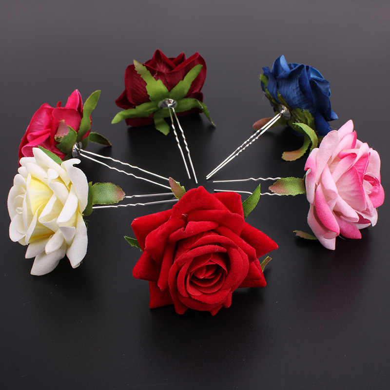 Wholesale 6pcs Rose Flower Women Lady Wedding Bridal Party Prom Hair pin Clips Haipin Fashion Hair Jewelry Accessories